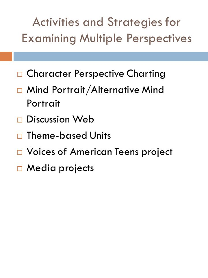 Features of Character Perspective Charting (Shanahan & Shanahan, 1997) Engages students in a form of story mapping Highlights the interrelatedness of the goals and conflicts of the characters Demonstrates how different themes are derived from a storys different perspectives Used with short stories or chapter of novels Different perspectives can be charted concurrently or individually