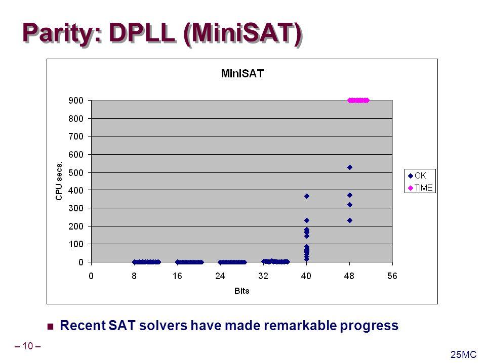 – 11 – 25MC Parity: BDDs Trivial problem for BDDs