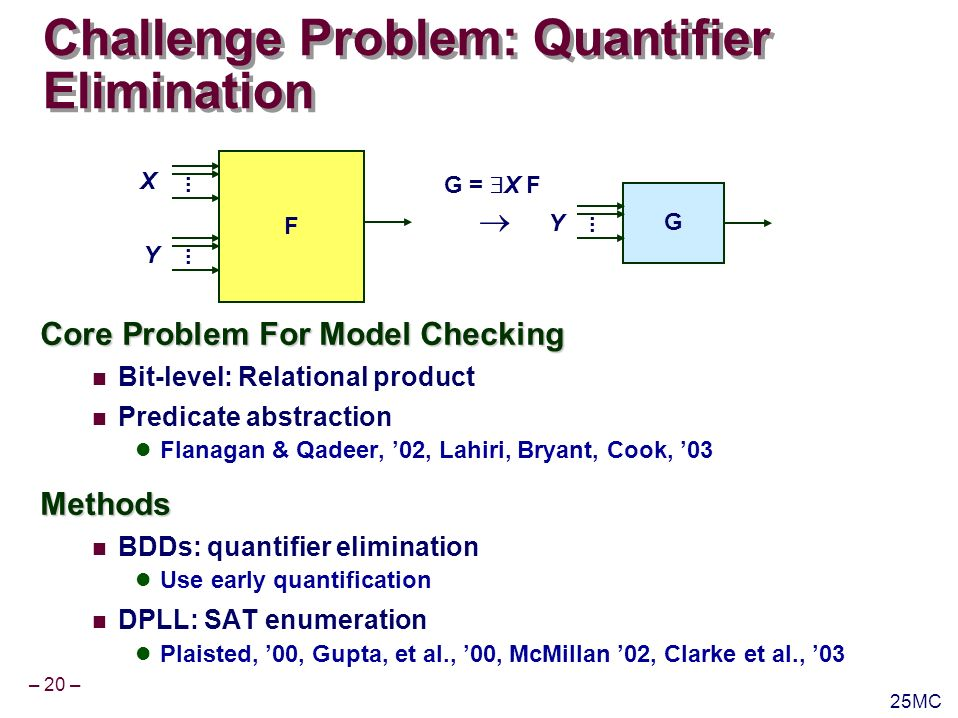 – 21 – 25MC Quantifier Elimination Example Example from Predicate Abstraction Lahiri, Bryant, Cook, 03 G = X F Current state variables X Next state variables Y xxxxxx [( x 1 x 2 x 3 x 4 x 5 x 6 ) xxxxxx ( x 1 x 2 x 3 x 4 x 5 x 6 ) ] Current State x 1, x 2, x 3, x 4, x 5, x 6 Transition Constraints xyyyxxy ( x 2 y 2 ) ( y 2 y 1 ) ( x 4 x 6 y 1 ) xyxy x 3 y 4 x 4 y 3 xyxy x 5 y 6 x 6 y 5