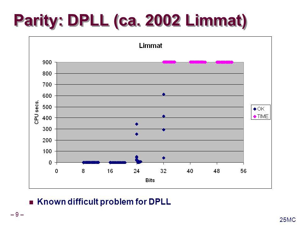 – 10 – 25MC Parity: DPLL (MiniSAT) Recent SAT solvers have made remarkable progress