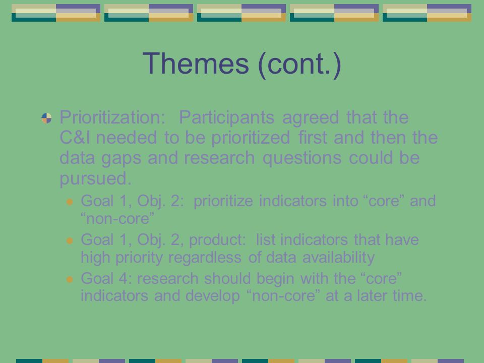 Identifying research needs Goal 1, obj.