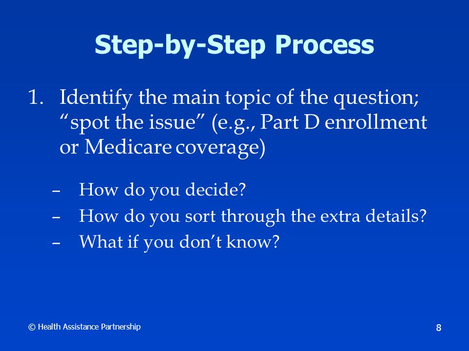 © Health Assistance Partnership 9 Step-by-Step Process 2.Decide which of the 3 SHIP Resource Guides to use –Medicare Basics (also contains sections on supplemental insurance, Coordination of Benefits, and long-term care insurance) –Medicare Advantage –Part D