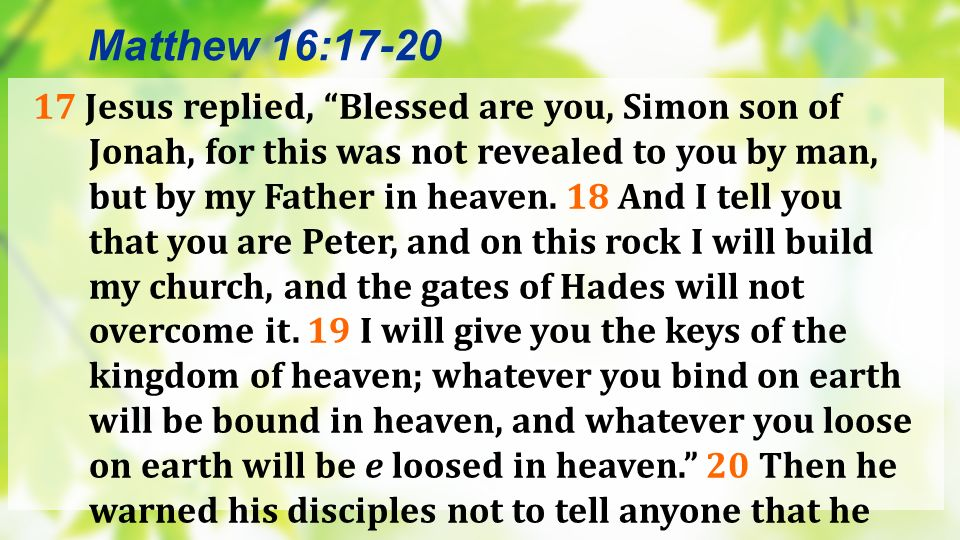 21 From that time on Jesus began to explain to his disciples that he must go to Jerusalem and suffer many things at the hands of the elders, chief priests and teachers of the law, and that he must be killed … Matthew 16:21a