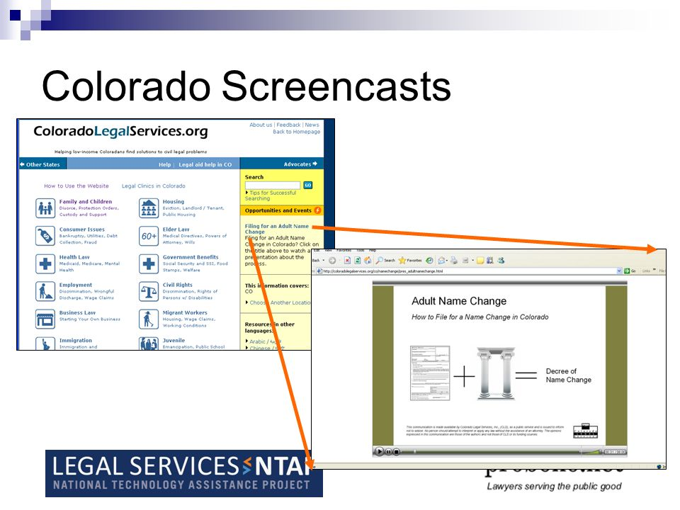 Colorado project summary From Molly French, mfrench@colegalserv.org:mfrench@colegalserv.org CLS submitted a grant proposal to the Colorado Bar Foundation to create two audio visual presentations to add to the public site of its website.