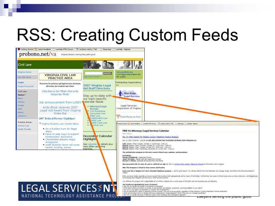RSS - Creating custom feeds tailored to your audience RSS feed builders -Yahoo Pipes http://pipes.yahoo.com/pipes/ - Ice Rocket http://rss.icerocket.com/