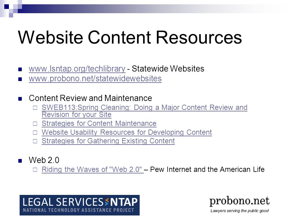 Resources referred to in this training Pew Internet and the American Life Social Networking Websites and Teens: An Overview, Amanda Lenhart 1/7/2007 http://www.pewinternet.org/pdfs/PIP_SNS_Data_Memo_Jan_2007.pdf Tagging, Lee Rainie, 1/31/2007 http://www.pewinternet.org/pdfs/PIP_Tagging.pdf Online Video, Mary Madden, 7/7/2007 http://www.pewinternet.org/pdfs/PIP_Online_Video_2007.pdf Wikipedia Users, Lee Rainie, 4/24/2007 http://www.pewinternet.org/pdfs/PIP_Wikipedia07.pdf