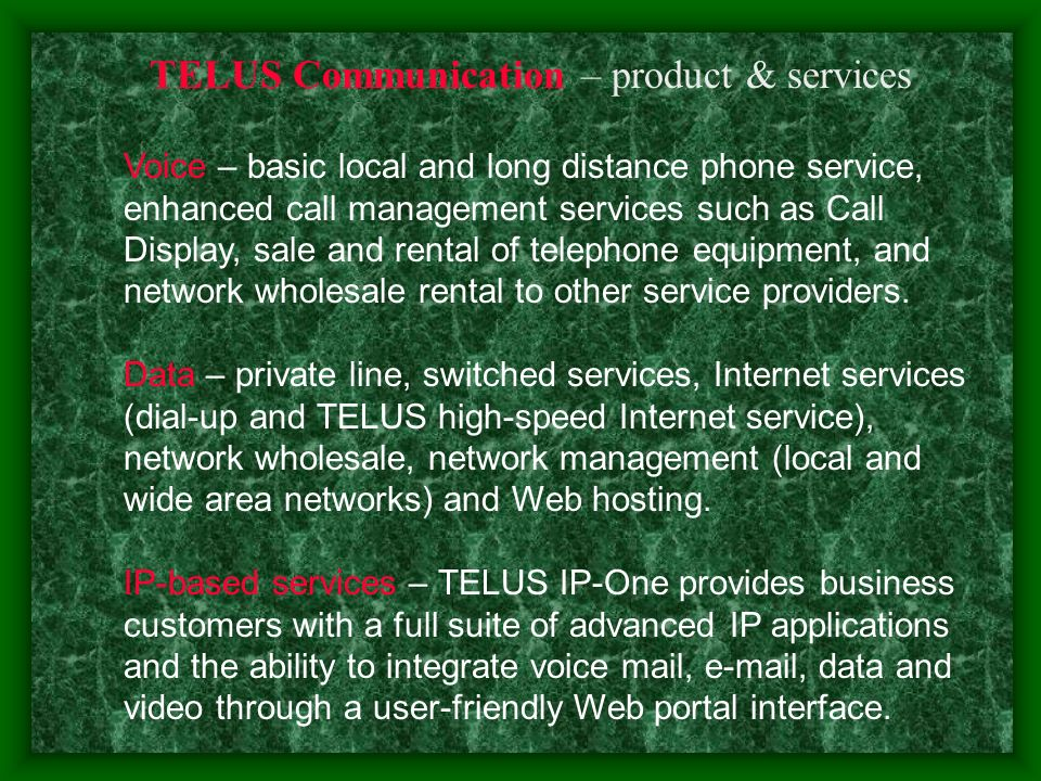 TELUS Mobility – product & services wireless services – PCS (postpaid and Pay & Talk TM prepaid) and Mike Internet services – wireless Web, text and picture messaging, downloads, Wi-Fi Hotspots wireless packet data network offerings – next generation 1X and Mike