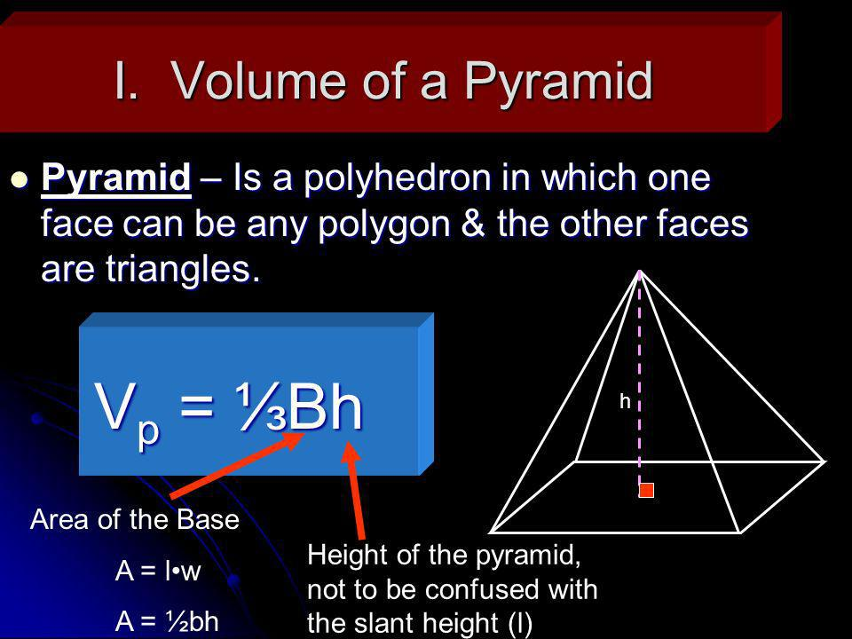 Ex.1: Volume of a right Pyramid Find the volume of a square pyramid with base edges of 10cm & a height of 20cm.