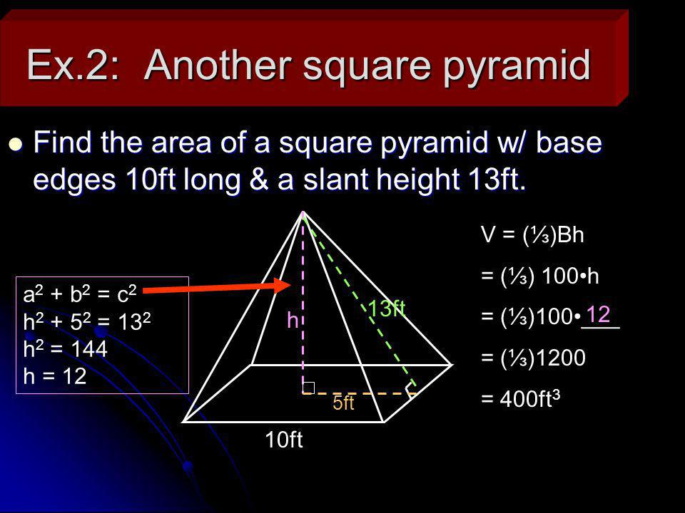 II.Volume of a Cone Cone – Is pointed like a pyramid, but its base is a circle.