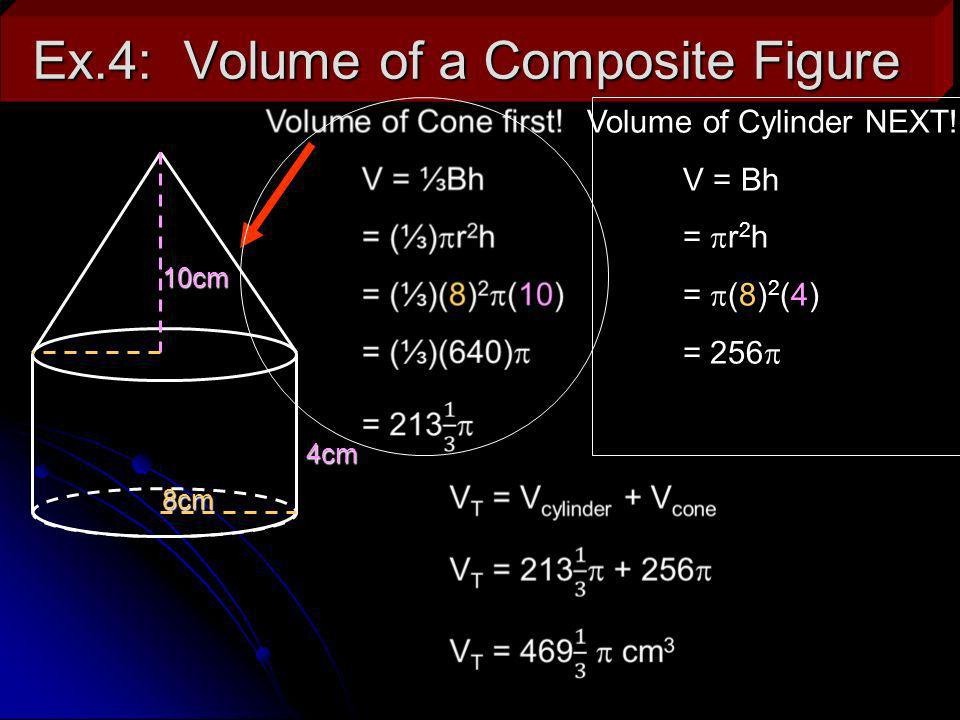 Ex.5: Solve for the missing variable.The following cone has a volume of 110.