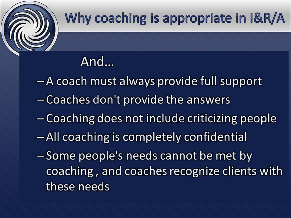 Many factors effect successful coaching, including: Motivation Cultural differences Goals Feedback.