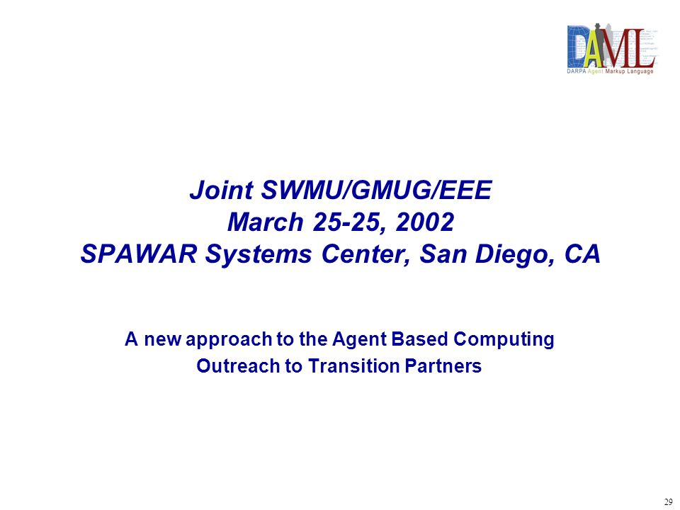 30 Joint SWMU/GMUG/EEE March 25-27, 2002 Background Vision of Future Warfare Fit to ESG/Interest of Navy in Agent Based Computing Agent-Based and DARPA Fusion Technology Roles –CoABS Grid –Semantic Web/DAML –DDB/DTT –Each Program at a turning point –Changes of the Military Environment –Changes of Management and Organization