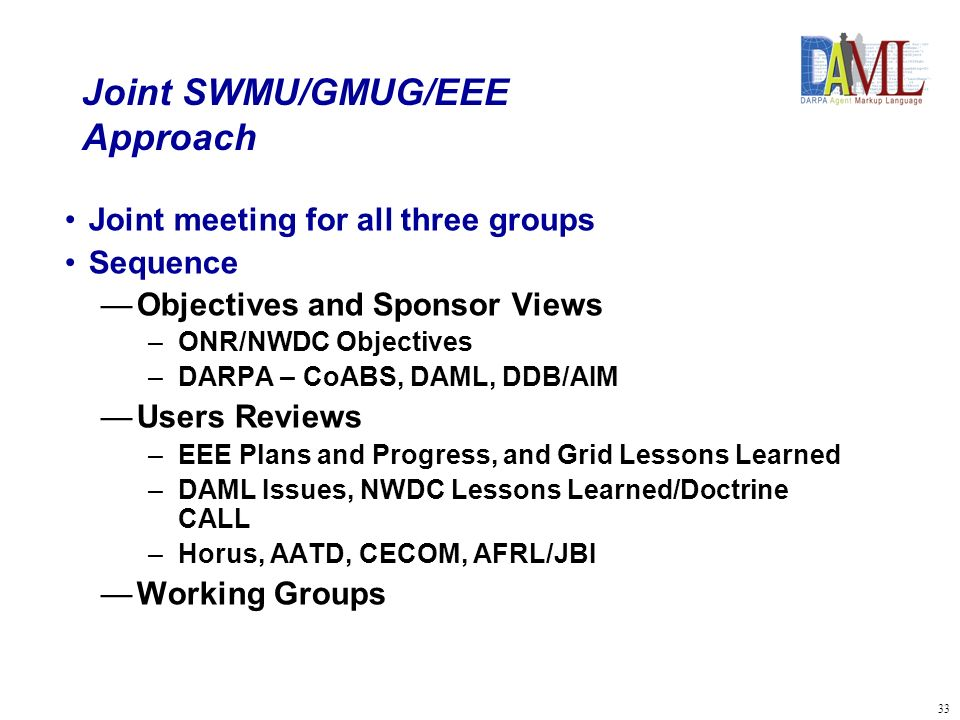 34 Joint SWMU/GMUG/EEE Working Group Process 4 Focus Areas Connectivity, Interoperability, and Security (SSC and JBI Lead) Sensors, Fusion, and Representation Using DARPA Technologies (SSC Lead) –Highlight DARPA Projects CoABS Grid, DAML, and DDB/AIM Agents for C2 (NWDC Lead) Ontologies for Military Use – Representation, C2, Fusion, Military Lessons Learned, Doctrine, Intelligence (NWDC Lead) Objectives Focus – Issues, Problems, Lessons Learned, Opportunities Objective, POA&M with with responsibilities, milestones, and due dates assigned Interrelated, not stove-piped approaches and solutions