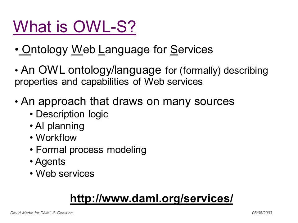 David Martin for DAML-S Coalition 05/08/2003 Layered Approach to Language Development DAML-??.