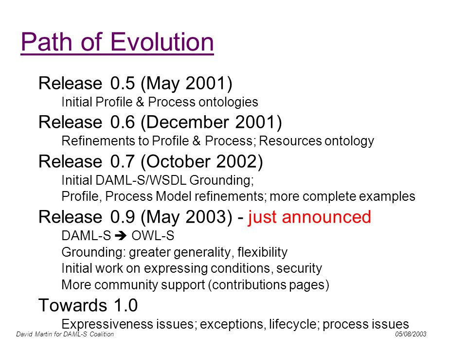 David Martin for DAML-S Coalition 05/08/2003 OWL-final Process Model –Exceptions –Process Control Ontology (lifecycle mgmt.) –Roles, explicit messaging –Surface language.