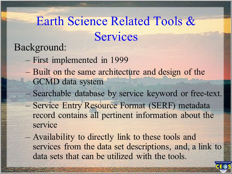 Earth Science Related Tools & Services Homepage