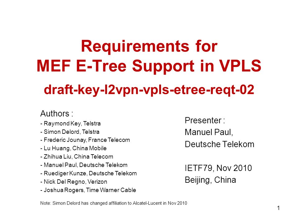 Update in 02-Version This is a requirement draft, not a solution draft.