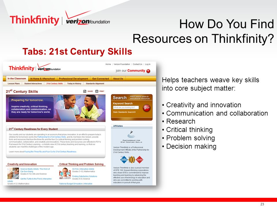 24 The Thinkfinity Community Find popular resources Save favorites Start or join discussions Locate or create documents Follow a community or group from the list that interests you.