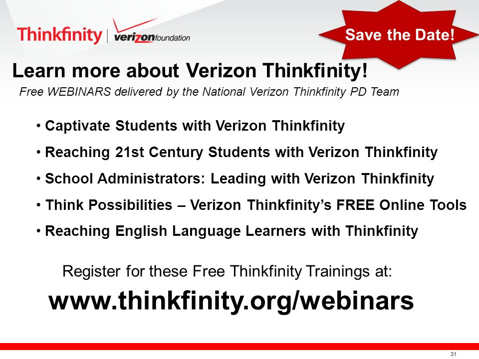 32 A Tour of Thinkfinity, A Tour of the Community A Tour of ARTSEDGE, A Tour of EDSITEment Think Possibilities –Thinkfinitys FREE Online Tools Reaching 21 st Century Students with Thinkfinity Civil War Stories Learn more about Verizon Thinkfinity.