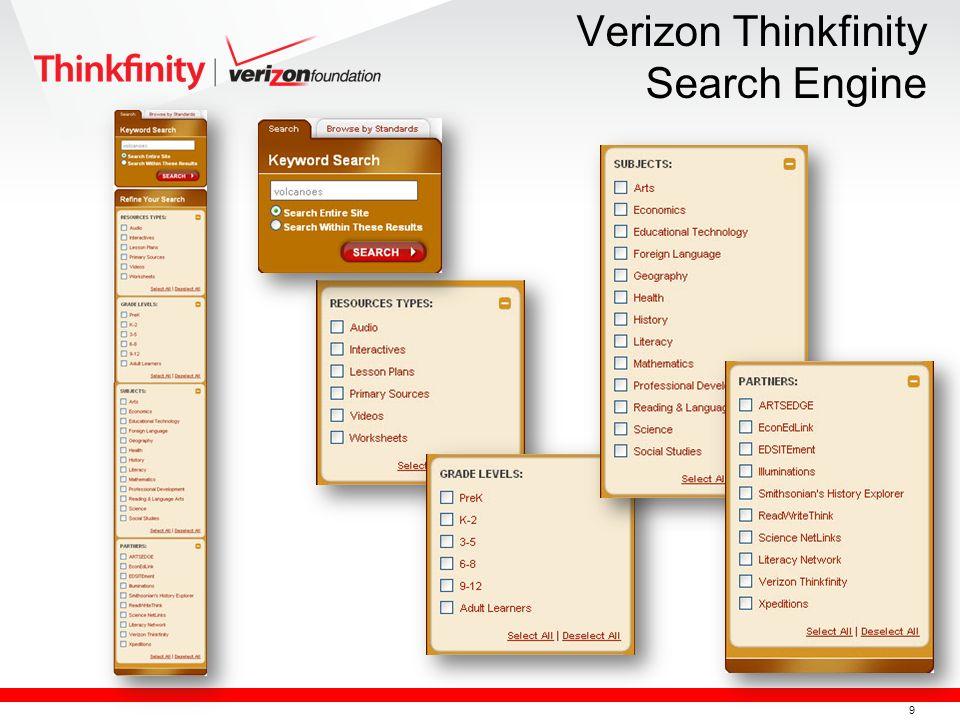 10 Hyperlinked Title Grade Level Range Description Resource Type Content Partner Standards Alignment More Information Verizon Thinkfinity Search Engine