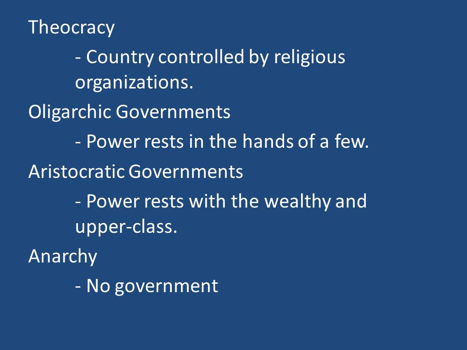 American Government Democracy: - A form of government when the people of a nation have either a direct or indirect say in policy making.