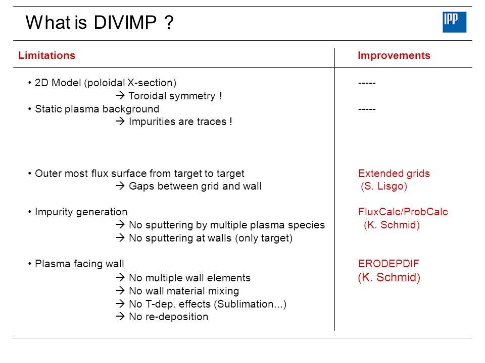 What is DIVIMP .LimitationsImprovements 2D Model (poloidal X-section) ----- Toroidal symmetry .