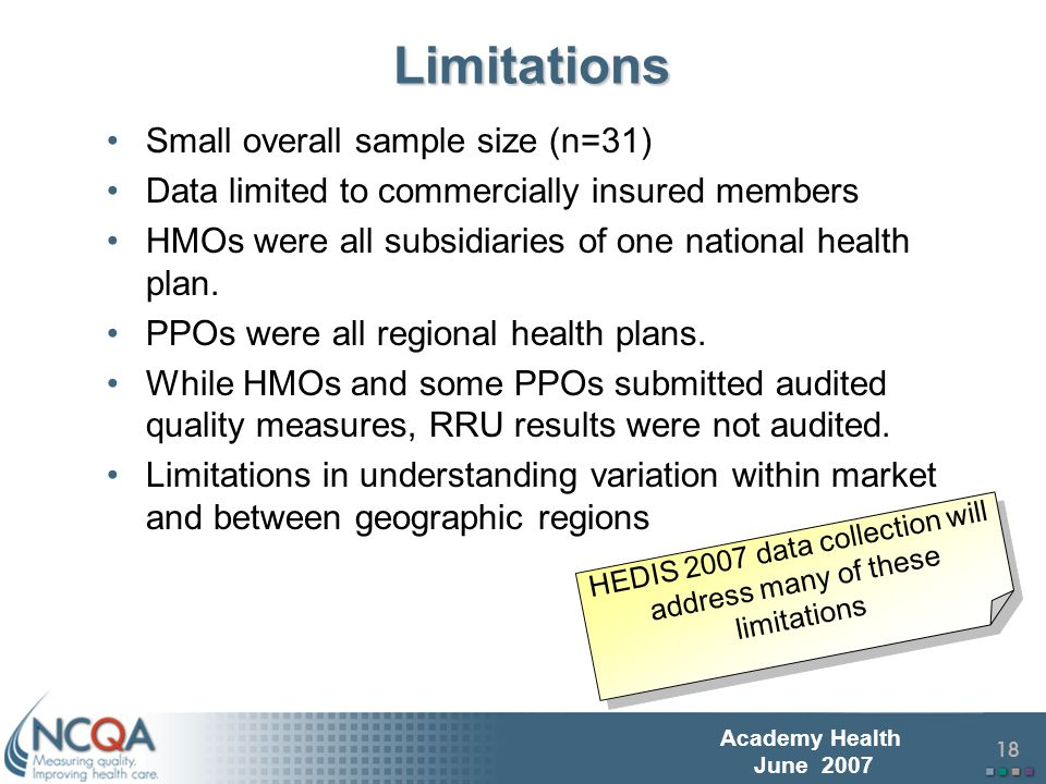 19 Academy Health June 2007 RRU MeasuresMoving Forward Next Steps: Collect HEDIS 2007 (final late July) –First Year Analysis of new RRU measures with related quality measures (in collaboration with others) Continue research/development –Finalize ADA Research Pilot Project –New study of Replicable Factors and Practices in High Performing Plans (with Urban Institute) –Refinement of measures based on first year results –Collection and analysis of additional set of three measures in 2008