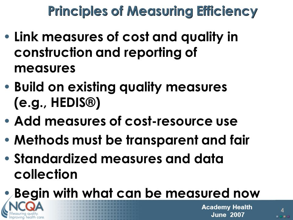 5 Academy Health June 2007 Health Plan Efficiency: HEDIS Measures Quality Measures coupled with new Relative Resource Use (RRU) Measures for People with… Diabetes Asthma Acute Low Back Pain Uncomplicated Hypertension Cardiac Conditions COPD First year RRU collection in HEDIS 2007 First year RRU collection in HEDIS 2008