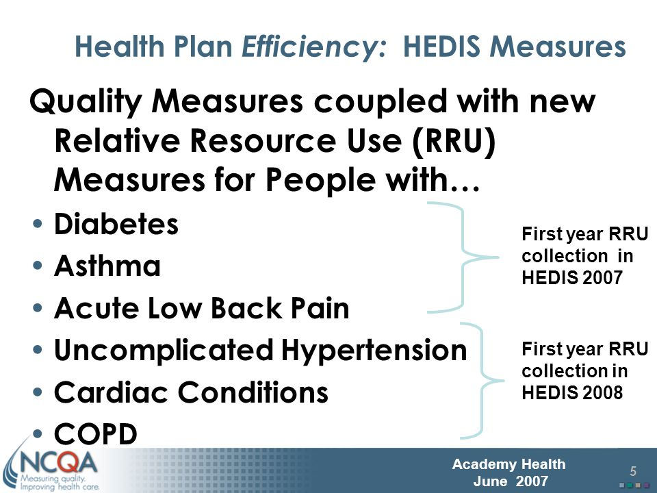 6 Academy Health June 2007 The RRU Measures Reports the relative resource use for a health plan members with a particular condition when compared to their risk adjusted peers – Standard price table provided by NCQA to appropriately weight units of services rendered to members.