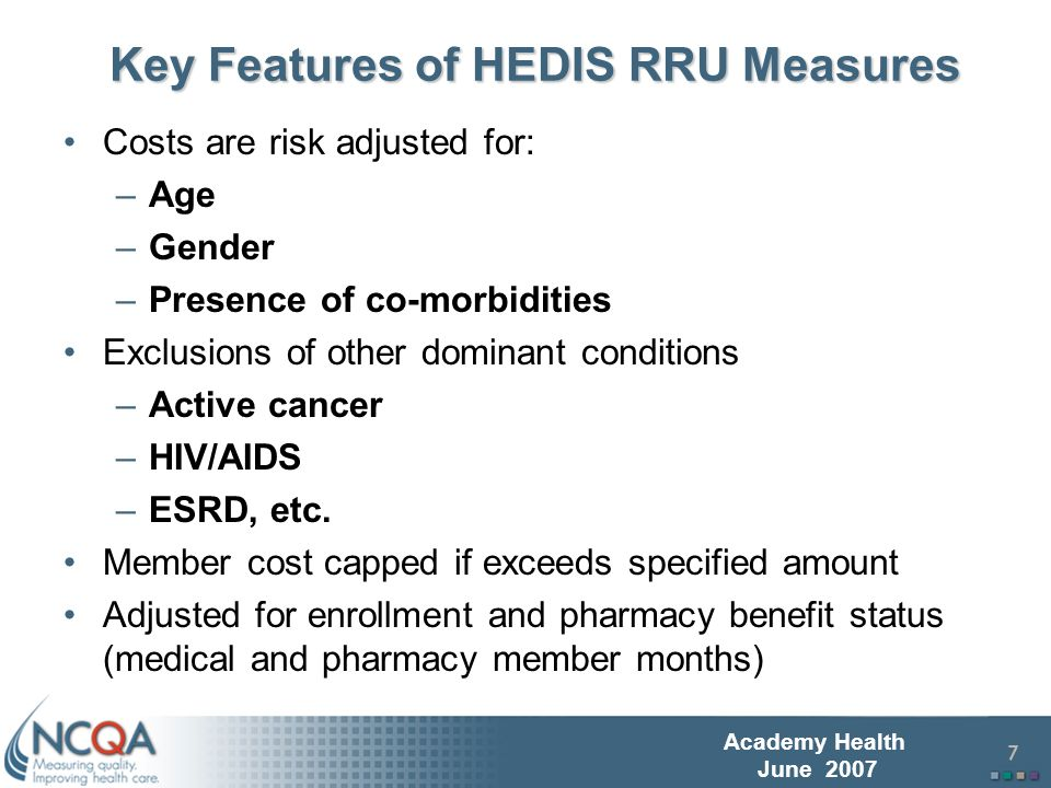 8 Academy Health June 2007 Objective of Early Adopter Pilot Pilot test analytic approach for full HEDIS data set (300+ plans) submission that is in progress (June 2007) Do preliminary analysis of variation of quality and cost for adults with diabetes –Comprehensive Diabetes Care (CDC) and Relative Resource Use for People with Diabetes (RDI) HEDIS measures Initial opportunity to examine performance between HMOs and PPOs Gain further implementation experience prior to 2007 HEDIS data submission Voluntary convenience sample of 20 HMOs and 11 PPO plans (larger than initial pilot test of measures)