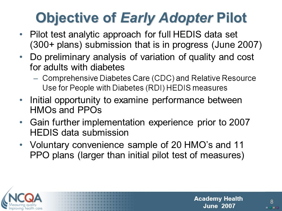 9 Academy Health June 2007 Comprehensive Diabetes Care Quality Measures Quality measure results based on 2006 HEDIS (measurement year 2005) using specifications for administrative only data collection Quality measures included four process of care measures: –Annual Cholesterol Testing –Annual HbA1c Testing –Eye Exam –Monitoring for Kidney Disease Calculated plan level diabetes measures composite rate –Unweighted average of measures Created diabetes quality plan index –Individual plan composite rate divided by all-plan composite average