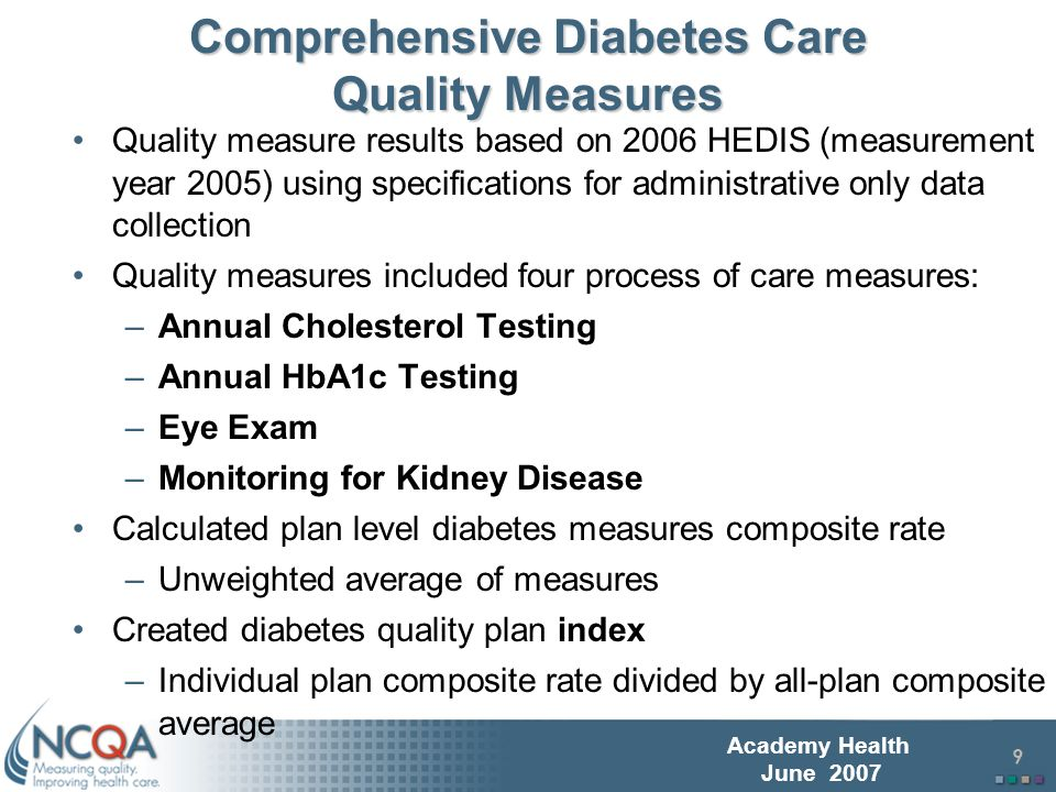 10 Academy Health June 2007 RRU Measure in Diabetes RRU ratio based on 2007 HEDIS Diabetes RRU specifications; –Measurement year 2005 (same as quality measures) RRU results assess relative cost (i.e., standardized price weighted resource use) by service category: –Inpatient facility services (IP) –Surgery & procedure services (Surg) –Evaluation and Management (office visits) services (E&M) –Pharmacy, ambulatory use (Rx)