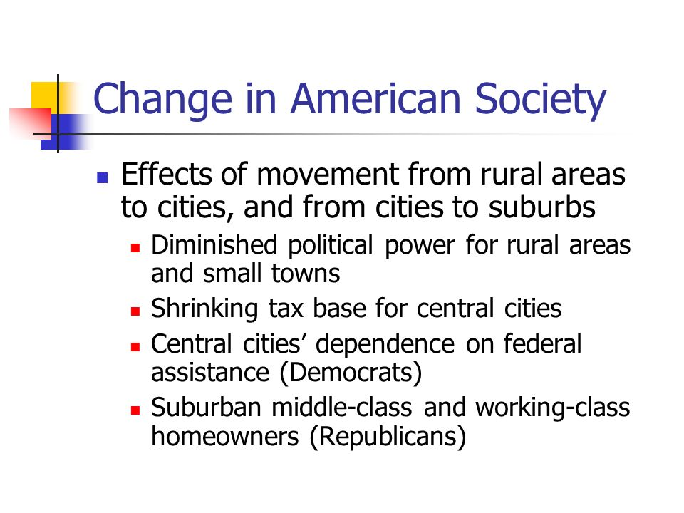 Change in American Society Effects of population movement (cont) Population has moved west and south because of a shift in employment opportunities From 1950 – 1990 states in the east and upper Midwest (Rust Belt) lost population States in the lower south, southwest and west (Sunbelt) gained power Which regions gained.