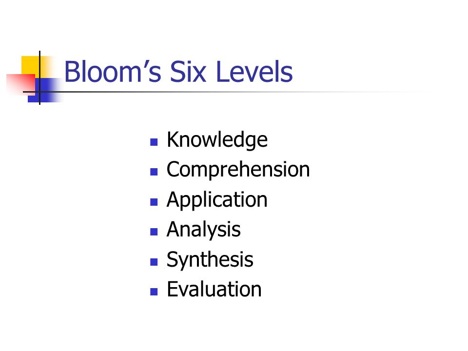 Blooms Six Levels Knowledge Comprehension Application Analysis Synthesis Evaluation