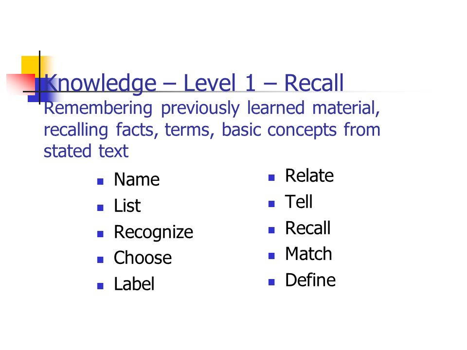 Knowledge – Level 1 – Recall Remembering previously learned material, recalling facts, terms, basic concepts from stated text Name List Recognize Choose Label Relate Tell Recall Match Define