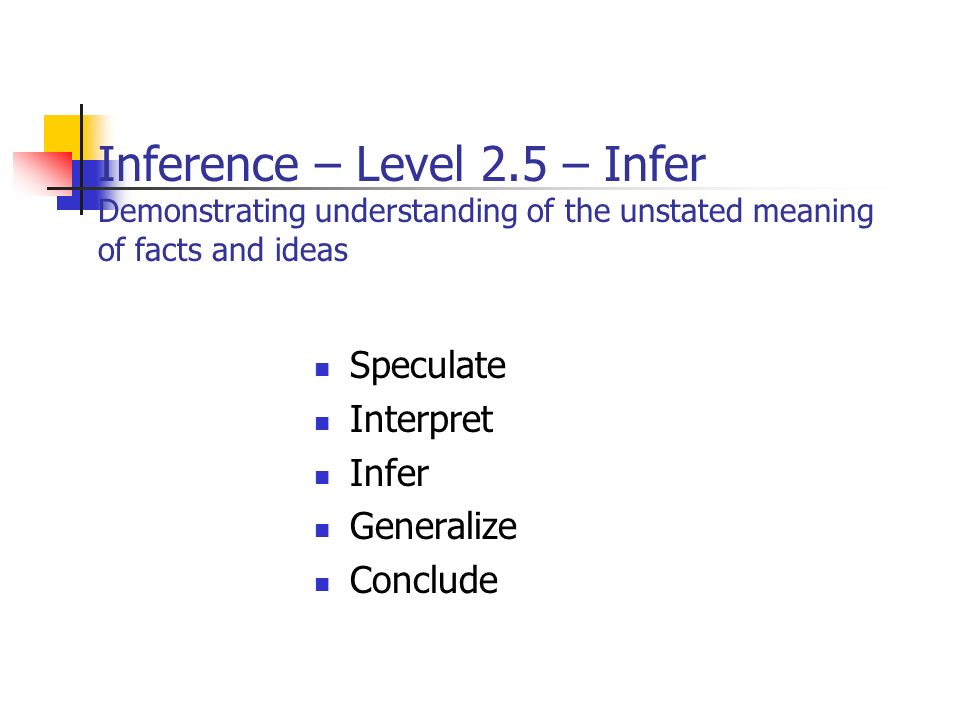 Inference – Level 2.5 – Infer Demonstrating understanding of the unstated meaning of facts and ideas Speculate Interpret Infer Generalize Conclude