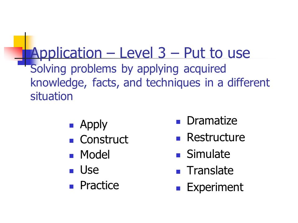 Application – Level 3 – Put to use Solving problems by applying acquired knowledge, facts, and techniques in a different situation Apply Construct Model Use Practice Dramatize Restructure Simulate Translate Experiment