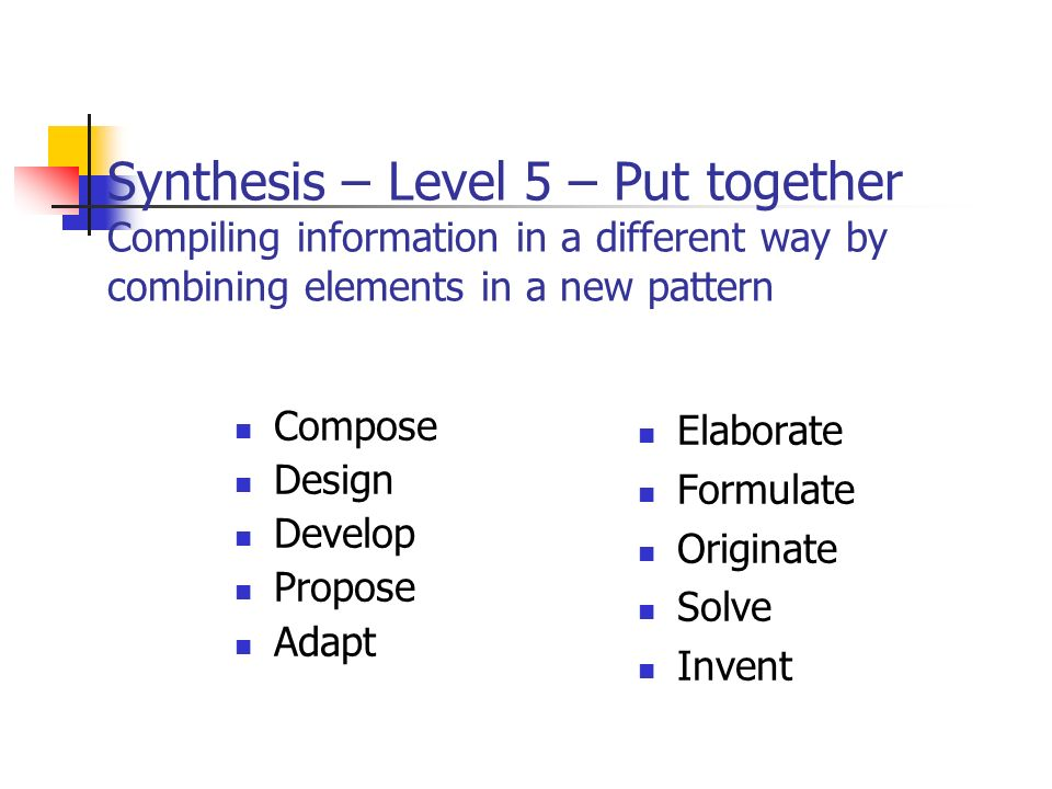 Synthesis – Level 5 – Put together Compiling information in a different way by combining elements in a new pattern Compose Design Develop Propose Adapt Elaborate Formulate Originate Solve Invent