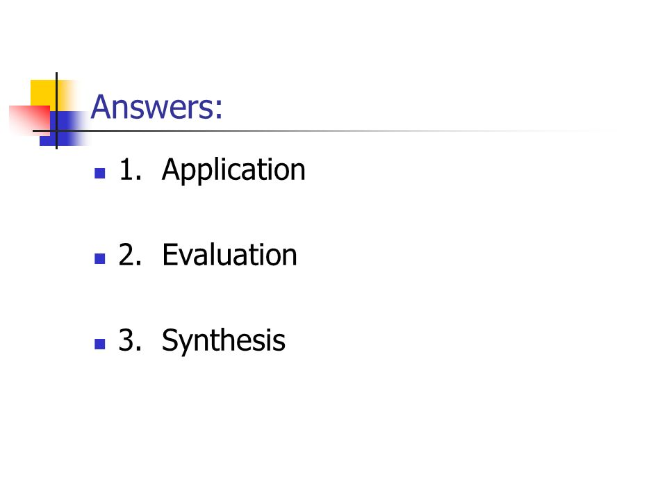 Answers: 1. Application 2. Evaluation 3. Synthesis