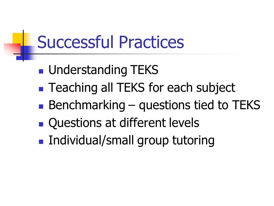 Successful Practices Understanding TEKS Teaching all TEKS for each subject Benchmarking – questions tied to TEKS Questions at different levels Individual/small group tutoring