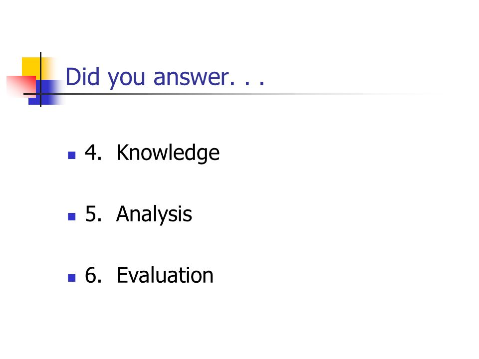 Did you answer... 4. Knowledge 5. Analysis 6. Evaluation