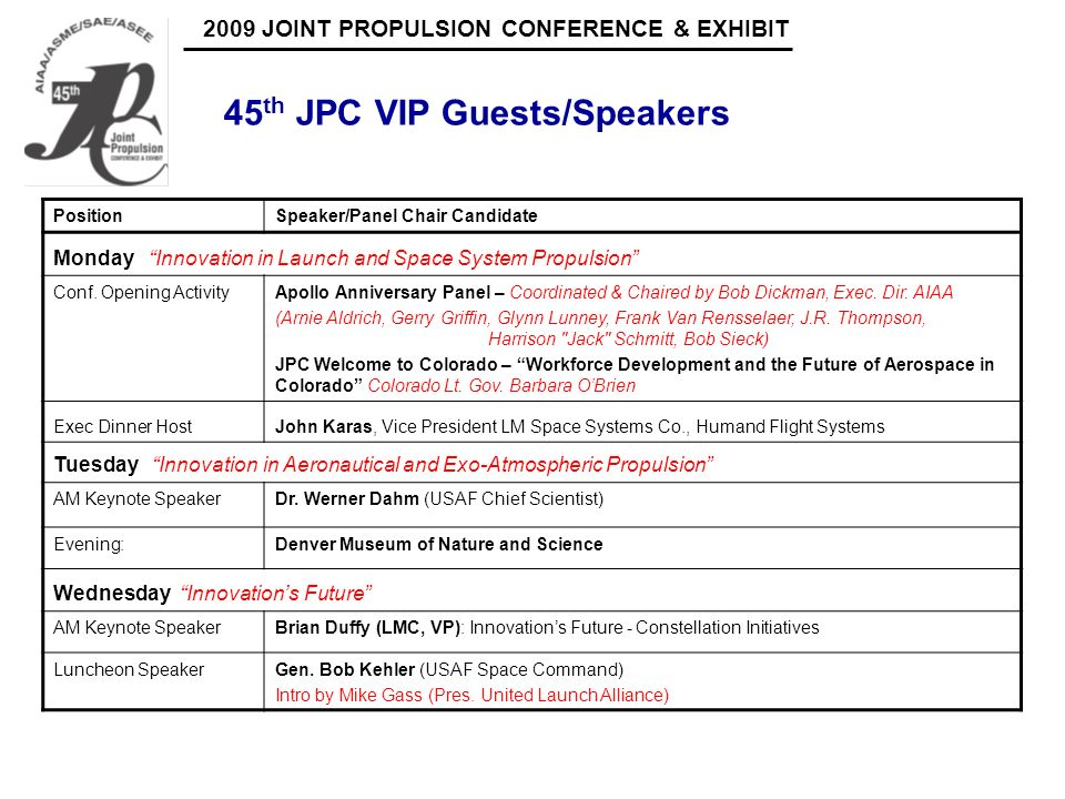 2009 JOINT PROPULSION CONFERENCE & EXHIBIT 45 th JPC Panels, Chairs, and Members PositionPanel Chair CandidateContact LeadStatus Monday Innovation in Launch and Space Vehicle Applications Monday AM Panel Innovation in Launch Vehicle Applications – Boosters Co-Chairs: R.