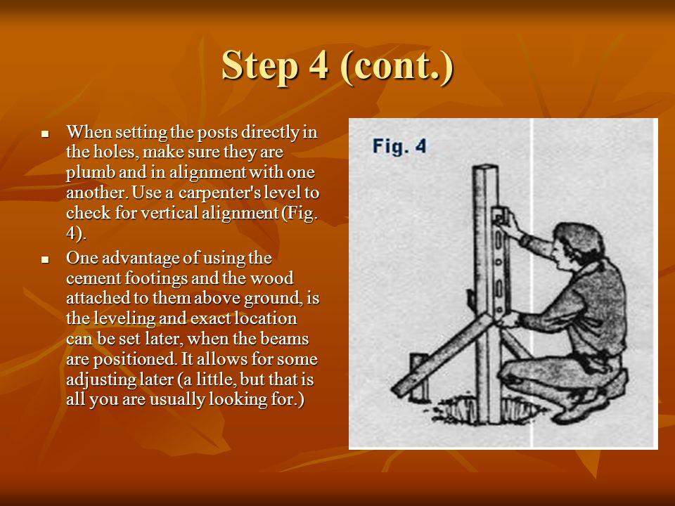 Step 5 Secure beams to posts.