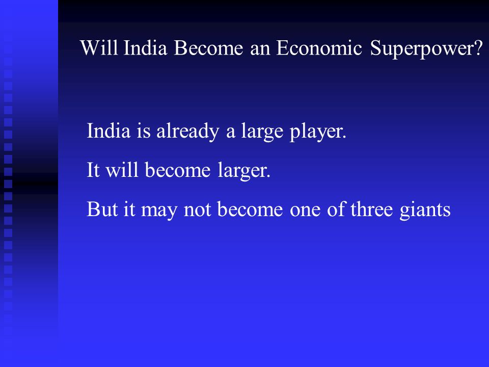 B. DOES IT MATTER IF AND WHEN INDIA BECOMES AN ECONOMIC SUPERPOWER?