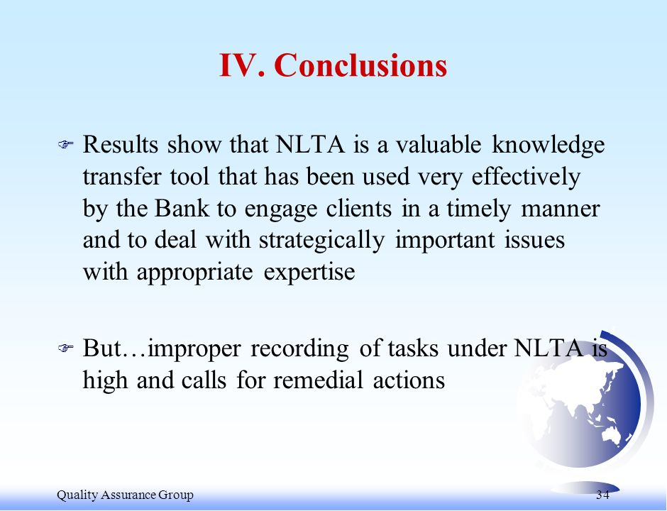 Quality Assurance Group 35 V.RECOMMENDATIONS