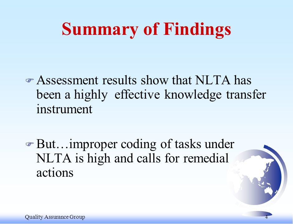 Quality Assurance Group 5 WHY ASSESS NLTA .