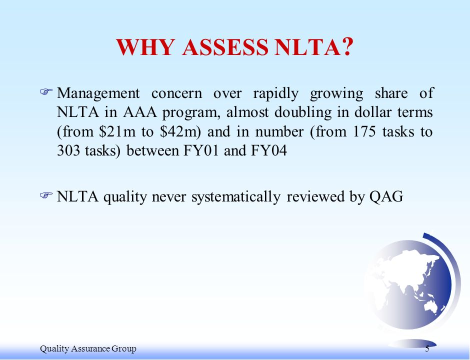 Quality Assurance Group 6 WHAT IS NLTA .