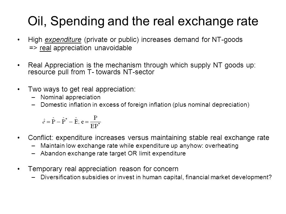 Oil, DD and the real exchange rate: Is there a Case for Intervention.