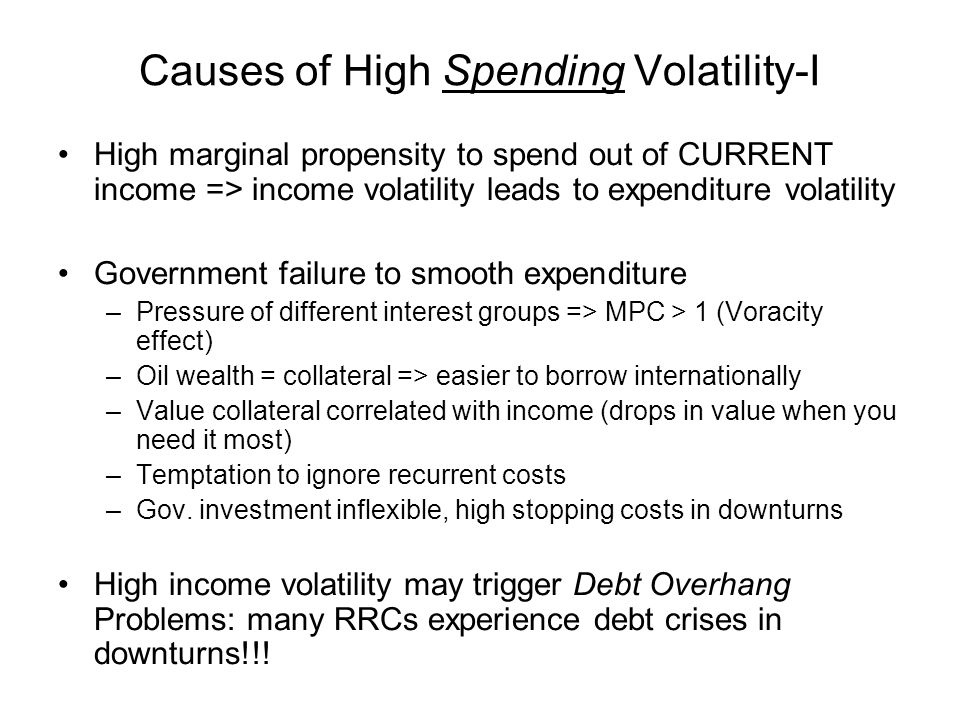 Debt Overhang Debt Overhang a problem when debt trades at deep discounts: debt then has equity characteristics When resource flows dry up, old debt shares in new project returns, so investment incentives distorted: Debt Overhang Debt relief coupled with commitment to investment program (structural adjustment program?) leads to efficiency gain, borrower gains without loss to lender Ineffective commitment to investment program leads to break down of the process, win-win not possible without efficiency gains Role WB in debt restructuring: makes investment commitment credible