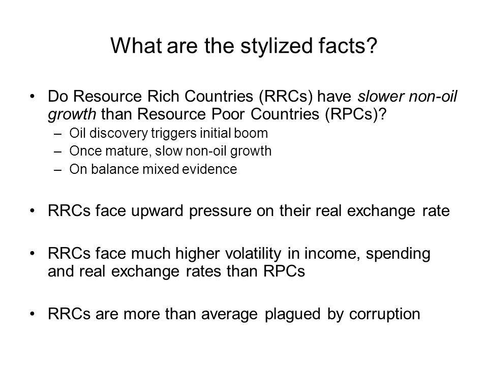 All stylized facts are related to poor growth performance Real appreciation causes a small T-sector.